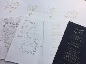 Screen printed wedding invitation by The Hive Printing