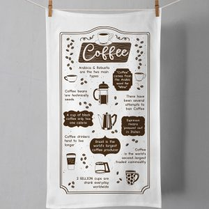 Tea towel with images and text about the history of coffee